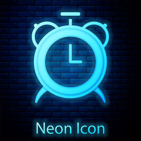 Glowing neon Alarm clock icon isolated on brick wall background. Wake up, get up concept. Time sign. Vector