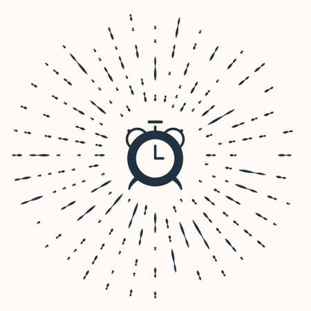 Grey Alarm clock icon isolated on beige background. Wake up, get up concept. Time sign. Abstract circle random dots. Vector Ilustração