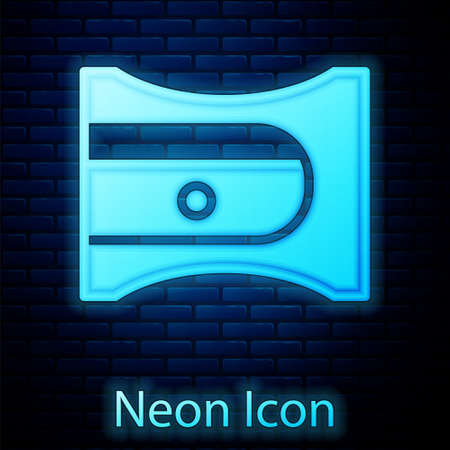 Glowing neon Pencil sharpener icon isolated on brick wall background. Vector