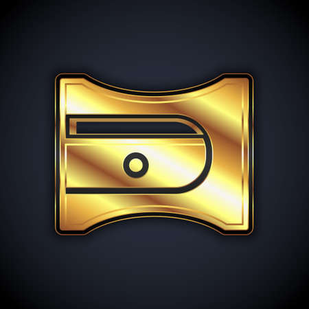 Gold Pencil sharpener icon isolated on black background. Vector