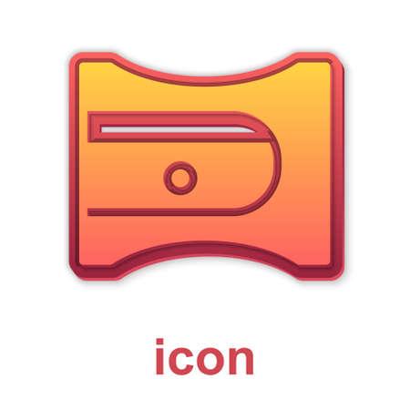 Gold Pencil sharpener icon isolated on white background. Vector Ilustração