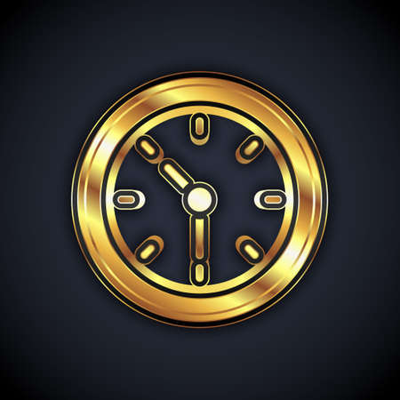 Gold Clock icon isolated on black background. Time symbol. Vector
