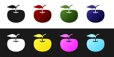 Set Apple icon isolated on black and white background. Excess weight. Healthy diet menu. Fitness diet apple. Vector