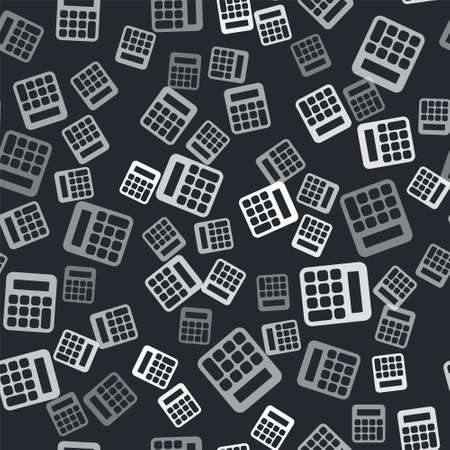 Grey Calculator icon isolated seamless pattern on black background. Accounting symbol. Business calculations mathematics education and finance. Vector