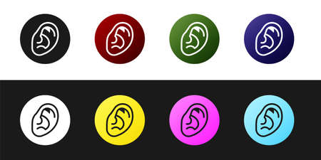 Set Ear listen sound signal icon isolated on black and white background. Ear hearing. Vector