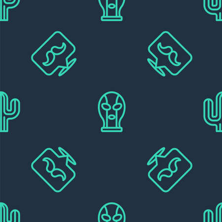 Set line Mexican wrestler, Mustache and Cactus on seamless pattern. Vector