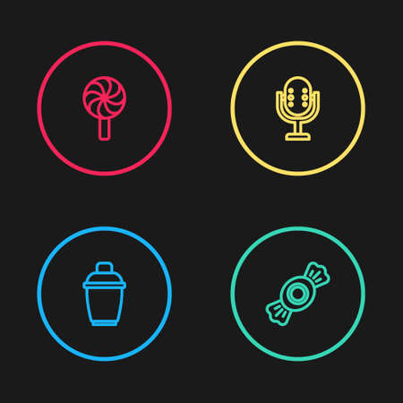 Set line Cocktail shaker, Candy, Microphone and Lollipop icon. Vector Иллюстрация