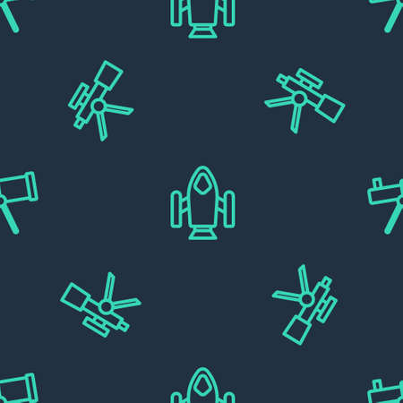 Set line Rocket ship, Telescope and on seamless pattern. Vector