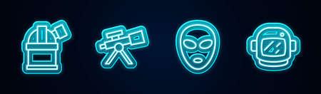 Set line Astronomical observatory, Telescope, Alien and Astronaut helmet. Glowing neon icon. Vector