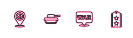 Set line Location peace, The word war, Military tank and rank icon. Vector