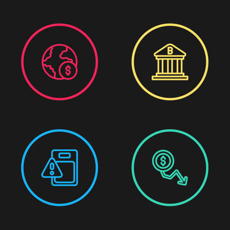 Set line Global economic crisis, Dollar rate decrease, Bank building and icon. Vector