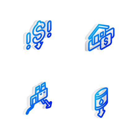 Set Isometric line Hanging sign with Sale, Dollar rate decrease, Shutdown of factory and Drop crude oil price icon. Vector Иллюстрация