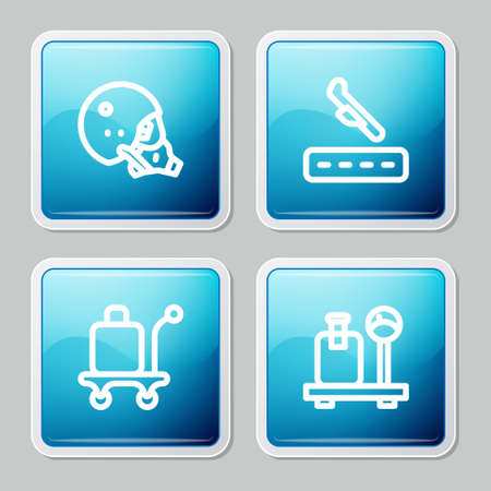 Set line Modern pilot helmet, Plane landing, Trolley baggage and Scale with suitcase icon. Vector