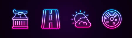 Set line Plane, Airport runway, Sun and cloud weather and Radar with targets on monitor. Glowing neon icon. Vector