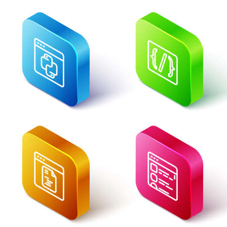 Set Isometric line Python programming language, Programming syntax, Software and Browser files icon. Vector