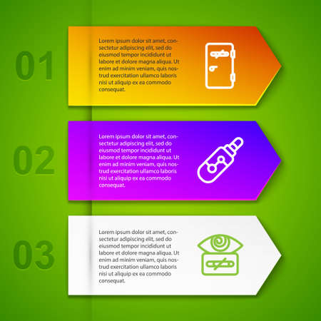 Set line No smoking area, Electronic cigarette and Hypnosis. Business infographic template. Vector