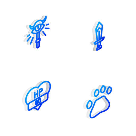Set Isometric line Sword for game, Magic staff, Video bar and Bear paw footprint icon. Vector