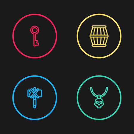 Set line Medieval axe, Necklace amulet, Gun powder barrel and Old key icon. Vector