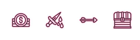 Set line Ancient coin, Arrow, Sword with blood and Chest icon. Vector