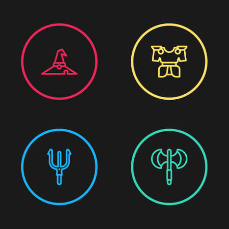 Set line Neptune Trident, Medieval poleaxe, Body armor and Witch hat icon. Vector Иллюстрация