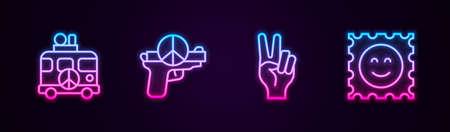 Set line Hippie camper van, No war, Peace symbol and LSD acid mark. Glowing neon icon. Vector Иллюстрация