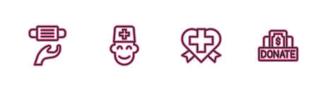 Set line Medical protective mask, Heart with cross, Male doctor and Donation and charity icon. Vector Иллюстрация