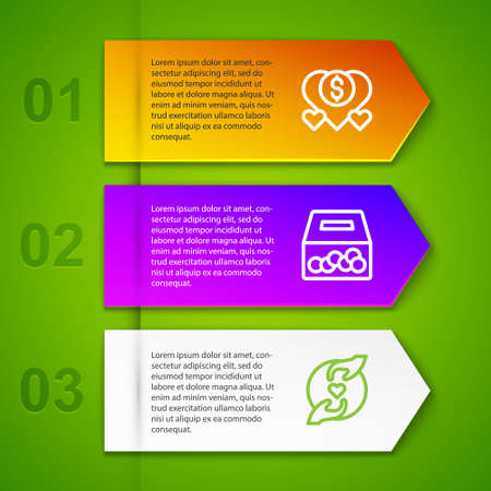 Set line Donation and charity, and Pleasant relationship. Business infographic template. Vector Иллюстрация