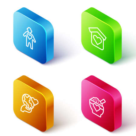 Set Isometric line Volunteer, Shelter for homeless, Hand holding Earth globe and Donation food icon. Vector