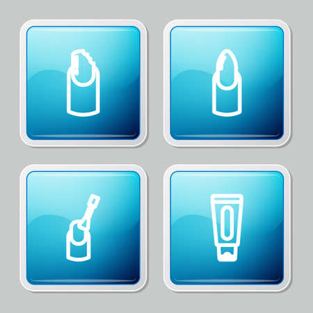 Set line Broken nail, Nail manicure, and Tube of hand cream icon. Vector
