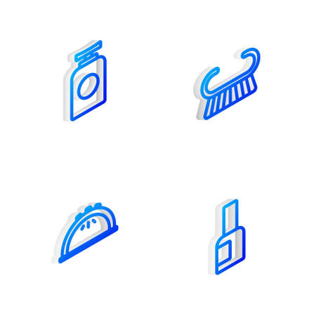 Set Isometric line Pedicure brush or grater, Tube of hand cream, Manicure lamp and Bottle nail polish icon. Vector