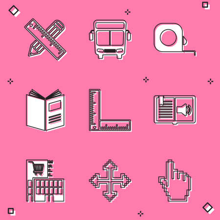 Set Crossed ruler and pencil, Bus, Roulette construction, Open book, Folding, Audio, Mall or supermarket building and Pixel arrows four directions icon. Vector Vektorgrafik