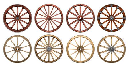 Wheel of west wild isolated realistic set icon. Vector realistic set icon wooden cartwheel. Vector illustration wheel of west wild on white background.