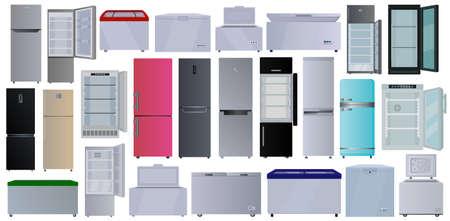 Freezer vector cartoon set icon. Vector illustration fridge on white background. Isolated cartoon set icon freezer.