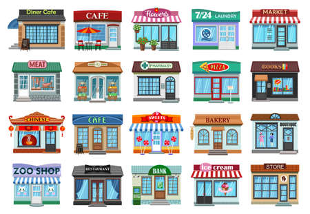Facade store vector cartoon set icon. Vector illustration storefront on white background. Isolated cartoon set icon facade store.
