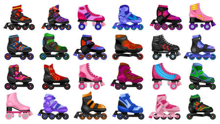 Skate roller vector cartoon set icon. Vector illustration rollerskate on white background. Isolated cartoon set icon skate roller.