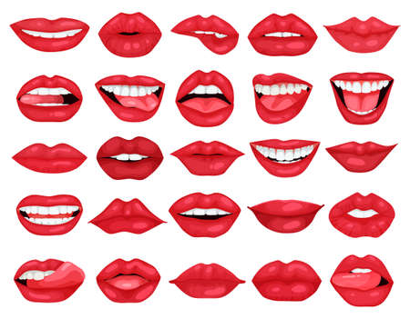 Female lip vector cartoon set icon. Vector illustration smile on white background. Isolated cartoon set icon female lip.