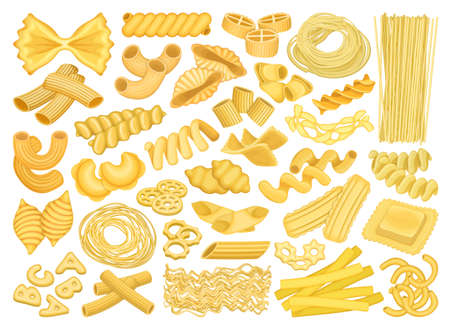 Pasta isolated cartoon set icon. Vector illustration italian macaroni on white background. Vector cartoon set icon pasta.