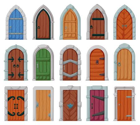 Medieval door vector cartoon set icon. Vector illustration castle doors on white background. Isolated cartoon set icon medieval door. Vecteurs