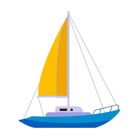 Sail yacht vector icon.Cartoon vector icon isolated on white background sail yacht. Vector Illustration