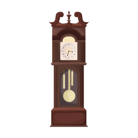 Antique clock isolated cartoon icon. Vector illustration old watch on white background. Vector cartoon illustration icon antique clock.