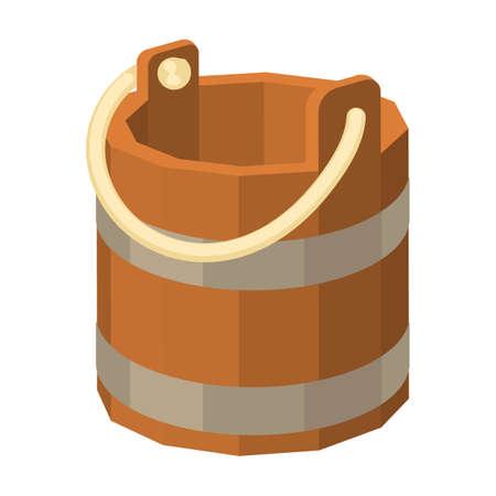 Wooden bucket vector icon.Cartoon vector icon isolated on white background wooden bucket. Vector Illustratie