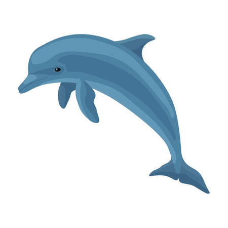 Dolphin vector icon.Cartoon vector icon isolated on white background dolphin. Vector Illustration