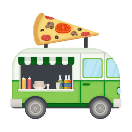 Food truck vector icon.Cartoon vector icon isolated on white background food truck. Ilustración de vector