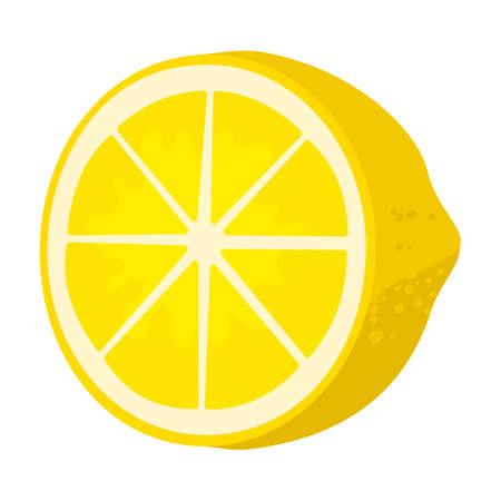 Slice of lemon vector icon.Cartoon vector icon isolated on white background slice of lemon. Vetores