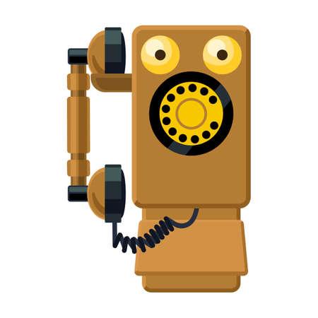 Retro phone vector icon.Cartoon vector icon isolated on white background retro phone.