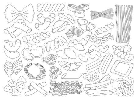 Pasta isolated outline set icon. Vector illustration italian macaroni on white background. Vector outline set icon pasta.