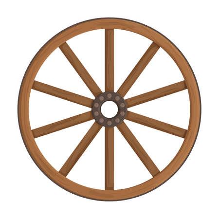Wooden wheel cartoon vector icon.Cartoon vector illustration wagon. Isolated illustration of wooden wheel of wagon icon on white background. Vector Illustratie