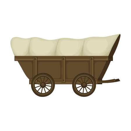 Wild west wagon cartoon vector icon.Cartoon vector illustration old carriage. Isolated illustration of wild west wagon icon on white background.
