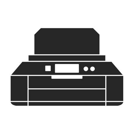 Printer office vector black icon. Vector illustration printer on white background. Isolated black illustration icon of office machine.