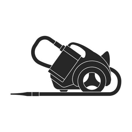 Vacuum cleaner vector black icon. Vector illustration robot carpet on white background. Isolated black illustration icon of vacuum cleaner .